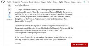 Der Auszug aus der Online-Ausgabe der Süddetuschen Zeitung.